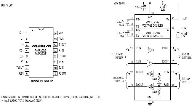 MAX232 схема включения